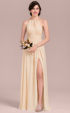 A-Line/Princess Scoop Neck Floor-Length Chiffon Bridesmaid Dress With Ruffle Bow(s) Split Front (007126442)