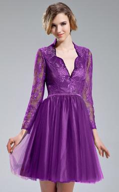 Vestidos princesa/ Formato A Decote V Coquetel Tule Renda Vestido de cocktail com Bordado Lantejoulas (016019705)