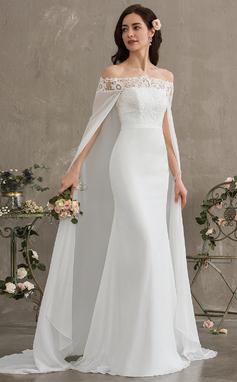Vestido tubo Fuera del hombro Cola corte Gasa Vestido de novia (002187040)