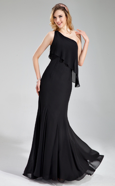 Trumpet/Mermaid One-Shoulder Floor-Length Chiffon Bridesmaid Dress (007019632)