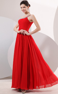 A-Line/Princess One-Shoulder Floor-Length Chiffon Evening Dress With Ruffle Beading (017014052)
