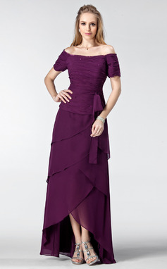 A-Line/Princess Off-the-Shoulder Asymmetrical Chiffon Mother of the Bride Dress With Ruffle Beading (008003182)
