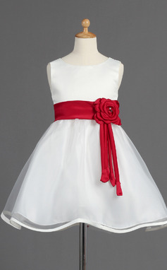 A-Line/Princess Knee-length Flower Girl Dress - Organza/Satin Sleeveless Scoop Neck With Sash/Beading/Flower(s)/Bow(s) (010014595)