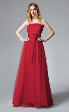 Vestidos princesa/ Formato A Sem Alças Longos Tule Vestido de madrinha com Pregueado fecho de correr (007013085)