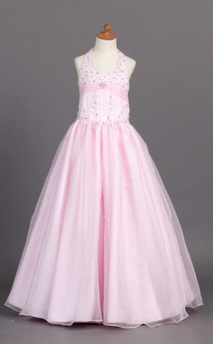 A-Line/Princess Floor-length Flower Girl Dress - Organza/Satin Sleeveless Halter With Beading (010007761)