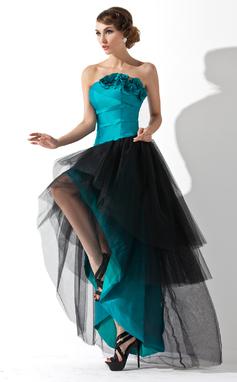 Corte A/Princesa Estrapless Asimétrico Tafetán Tul Vestido de baile de promoción con Volantes Flores (018020955)