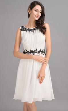 Vestidos princesa/ Formato A Decote redondo Coquetel De chiffon Vestido de boas vindas com Pregueado Apliques de Renda (022053552)