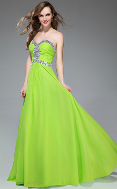 Empire Sweetheart Sweep Train Chiffon Prom Dress With Ruffle Beading (018047247)