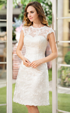 A-Line Scoop Neck Knee-Length Lace Wedding Dress (002052768)