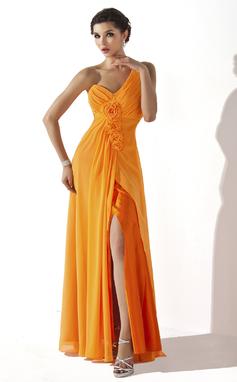 Vestidos princesa/ Formato A Um ombro Longos De chiffon Vestido de Férias com Pregueado fecho de correr Frente aberta (020036567)