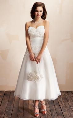 Forme Princesse Bustier en coeur Longueur cheville Organza Robe de mariée avec Plissé Dentelle Fleur(s) (002012174)