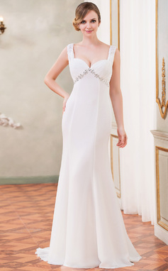 Trumpet/Mermaid Sweetheart Watteau Train Chiffon Wedding Dress With Ruffle Lace Beading Sequins (002050418)