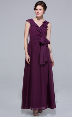 A-Line/Princess V-neck Ankle-Length Chiffon Bridesmaid Dress With Bow(s) Cascading Ruffles (007037191)