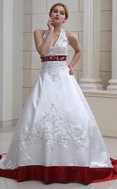 Платье для Балла С бретелью через шею Церемониальный шлейф Атлас Свадебные Платье с Вышито развальцовка блестки (002011730)