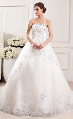 Ball-Gown Strapless Cathedral Train Tulle Wedding Dress With Lace Beading Flower(s) Sequins (002019528)