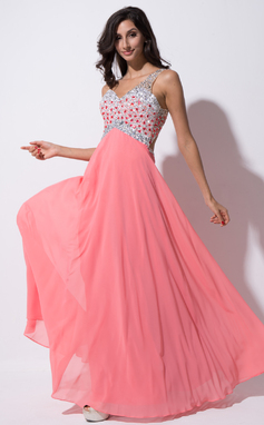 A-Line/Princess One-Shoulder Floor-Length Chiffon Tulle Prom Dress With Beading Sequins (018055190)