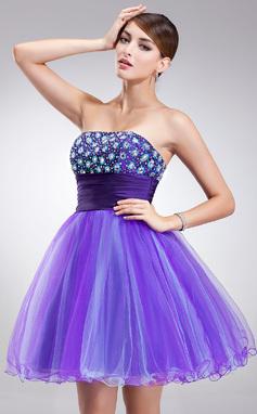 Vestidos princesa/ Formato A Sem Alças Curto/Mini Tule Vestido de boas vindas com Bordado (022020826)