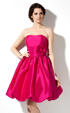 Empire Sweetheart Knee-Length Taffeta Bridesmaid Dress With Ruffle Flower(s) (022020748)