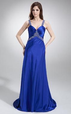 Corte A/Princesa Escote en V Barrer/Cepillo tren Charmeuse Vestido de baile de promoción con Volantes Bordado (018002831)