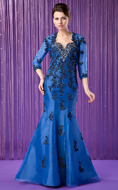 Trumpet/Mermaid Sweetheart Floor-Length Organza Mother of the Bride Dress With Embroidered Beading (008018985)