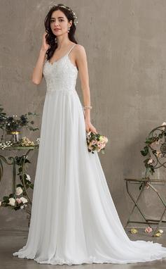 Трапеция возлюбленная Sweep/Щетка поезд шифон Свадебные Платье (002186396)