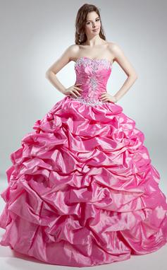 Платье для Балла возлюбленная Длина до пола Тафта Пышное платье с Рябь развальцовка аппликации кружева блестки (021016032)