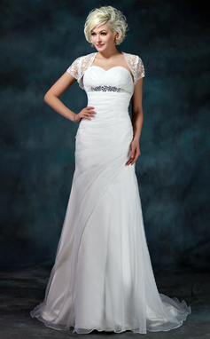 A-Line/Princess Sweetheart Court Train Organza Wedding Dress With Ruffle Beading (002011457)