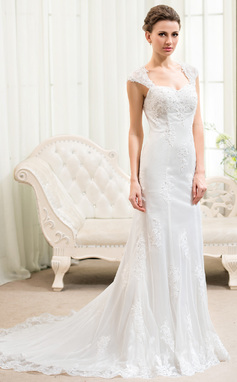 Trumpet/Mermaid Sweetheart Court Train Tulle Lace Wedding Dress With Beading Appliques Lace Sequins (002054620)