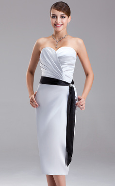 Sheath/Column Sweetheart Knee-Length Charmeuse Bridesmaid Dress With Ruffle Sash Beading (007021059)