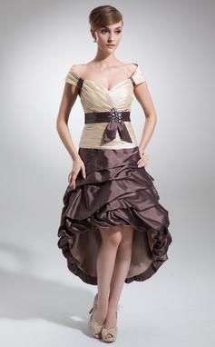 Vestidos princesa/ Formato A Sem o ombro Assimétrico Tafetá Vestido de boas vindas com Pregueado Cintos Bordado (022009147)