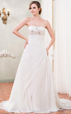 Corte A/Princesa Escote corazón Tren de la catedral Chifón Vestido de novia con Bordado Lentejuelas Cascada de volantes (002040422)