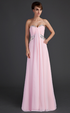 Empire Sweetheart Floor-Length Chiffon Holiday Dress With Ruffle Beading (020025944)