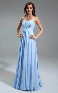 Empire One-Shoulder Floor-Length Chiffon Holiday Dress With Ruffle Beading (020025949)