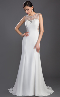 Trumpet/Mermaid Scoop Neck Sweep Train Chiffon Tulle Prom Dress With Beading Split Front (018047241)