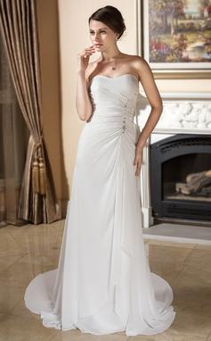 Tubo Coração Cauda de sereia De chiffon Vestido de noiva com Pregueado Bordado (002011373)