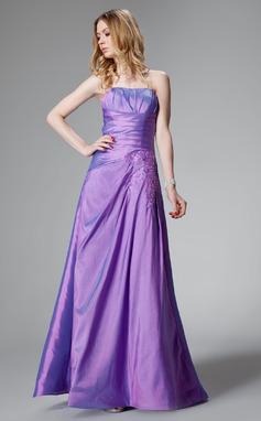 Vestidos princesa/ Formato A Coração Chá comprimento Tafetá Vestido de madrinha com Pregueado Renda (007000816)