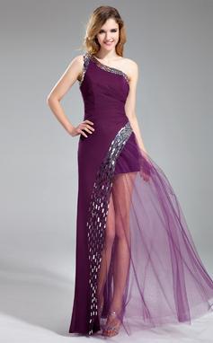 Corte A/Princesa Un sólo hombro Hasta el suelo Chifón Vestido de baile de promoción con Lentejuelas (018019685)