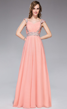 A-Line/Princess Sweetheart Floor-Length Chiffon Evening Dress With Ruffle Beading Sequins (018047242)