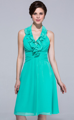 A-Line/Princess Halter Knee-Length Chiffon Bridesmaid Dress With Cascading Ruffles (007037237)