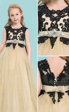 Ball Gown Floor-length Flower Girl Dress - Tulle/Lace Sleeveless Scoop Neck With Beading/Bow(s)/Rhinestone (010143245)