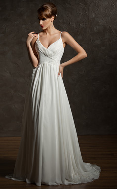 A-Line/Princess V-neck Court Train Chiffon Wedding Dress With Ruffle (002004750)