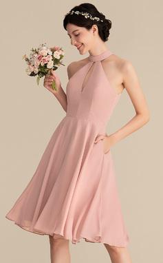 Vestidos princesa/ Formato A Decote redondo Coquetel Tecido de seda Vestido de madrinha com Renda Bolsos (007153304)