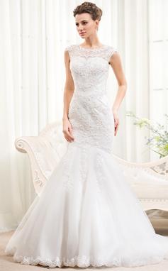 Trumpet/Sjöjungfru Rund-urringning Sweep släp Tyll Spetsar Bröllopsklänning med Pärlbrodering Paljetter (002054372)