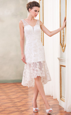 Sheath/Column V-neck Asymmetrical Organza Wedding Dress With Beading Appliques Lace Sequins (002047384)