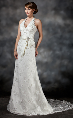 A-Line/Princess Halter Court Train Lace Wedding Dress With Sash Beading Sequins (002011503)