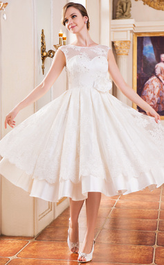 A-Line/Princess Scoop Neck Tea-Length Satin Lace Wedding Dress With Beading Flower(s) Sequins (002047375)