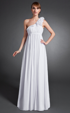 Empire-Linie One-Shoulder-Träger Bodenlang Chiffon Festliche Kleid mit Rüschen Blumen (020015077)