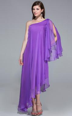 Forme Princesse Encolure asymétrique Traîne asymétrique Mousseline Robe de soirée (017026204)