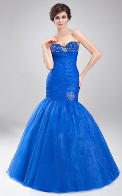 Trumpet/Mermaid Sweetheart Floor-Length Organza Prom Dress With Ruffle Beading (018020791)