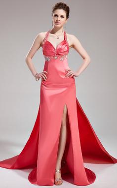 Vestidos princesa/ Formato A Cabresto Cauda watteau Charmeuse Vestido de festa com Pregueado Bordado Frente aberta (017019578)